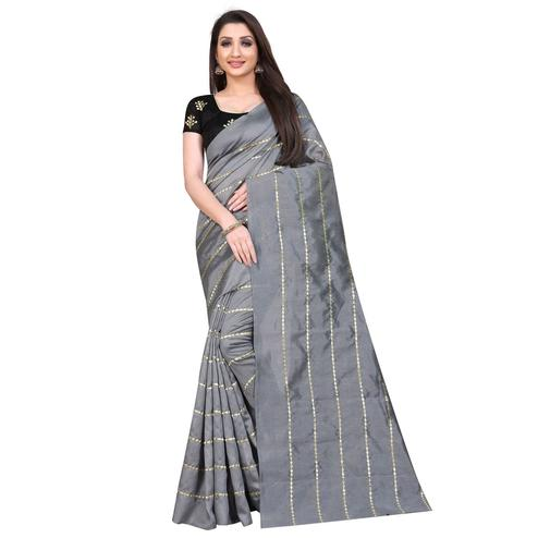 Graceful Grey Colored Partywear Zoya Art Silk Saree