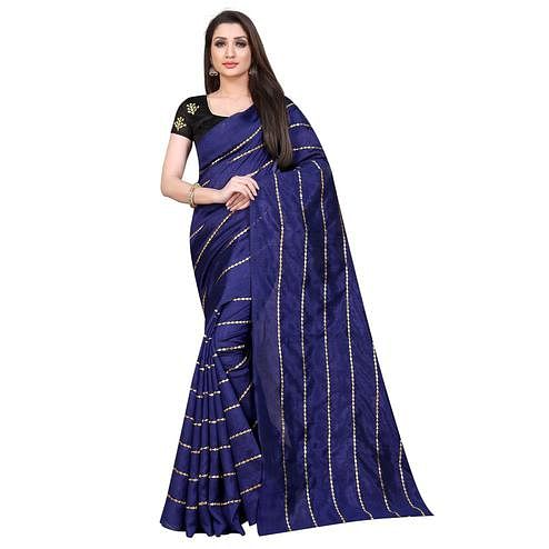 Blooming Navy Blue Colored Partywear Zoya Art Silk Saree