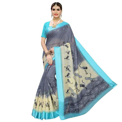 Engrossing Grey Colored Casual Printed Linen Saree