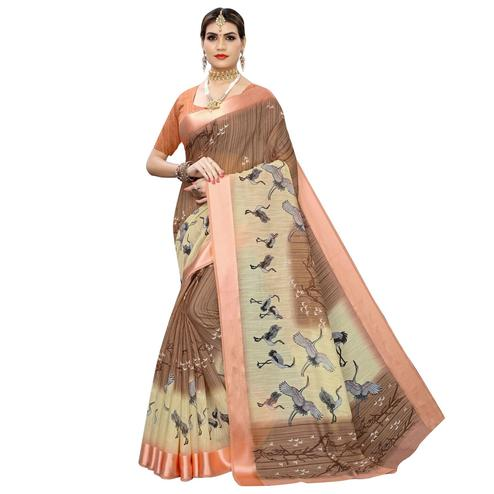 Captivating Brown Colored Casual Printed Linen Saree
