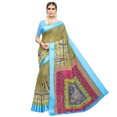 Fantastic Olive Green Colored Casual Printed Linen Saree