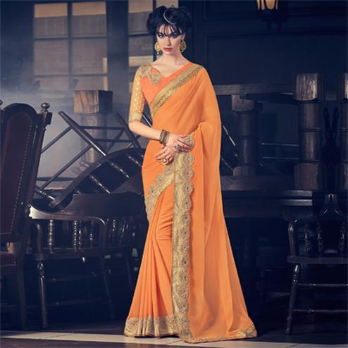 Orange Border & Stone Work Saree