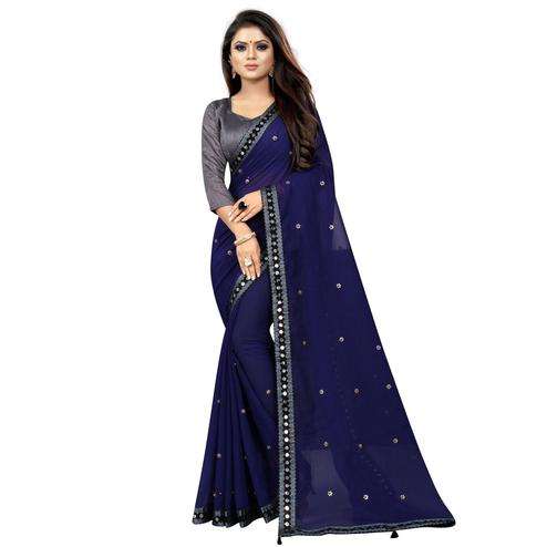 Imposing Navy Blue Colored Partywear Embroidered Georgette Saree