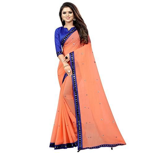Lovely Orange Colored Partywear Embroidered Georgette Saree