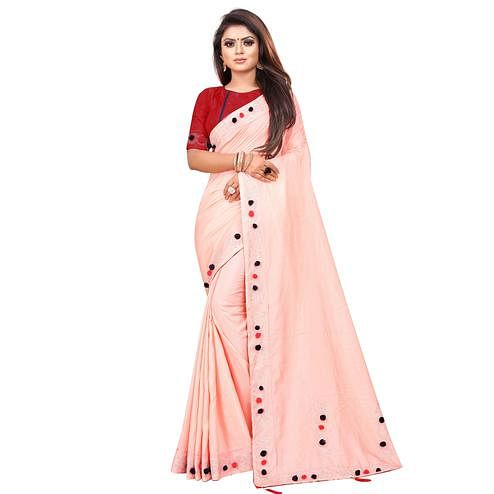 Impressive Peach Colored Partywear Zoya Art Silk Saree