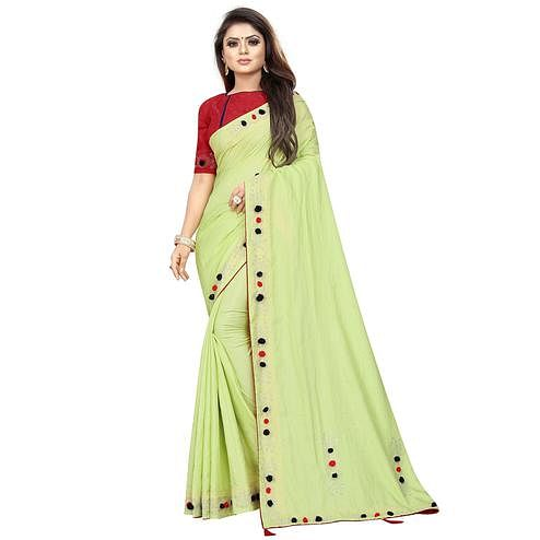 Mesmerising Pista Green Colored Partywear Zoya Art Silk Saree