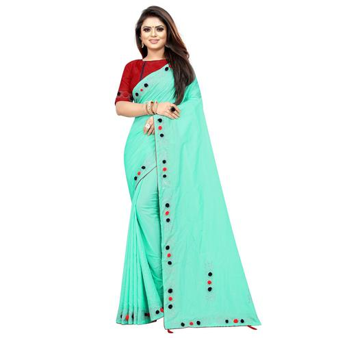 Pleasance Aqua Green Colored Partywear Zoya Art Silk Saree
