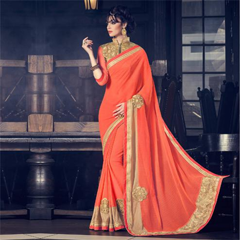 Orange Patch & Fancy Border Work Saree