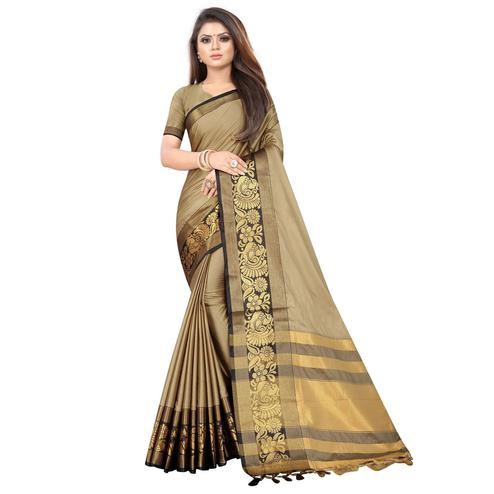 Elegant Beige Colored Festive Wear Woven Banarasi Jacquard Saree