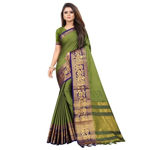 Radiant Green Colored Festive Wear Woven Banarasi Jacquard Saree