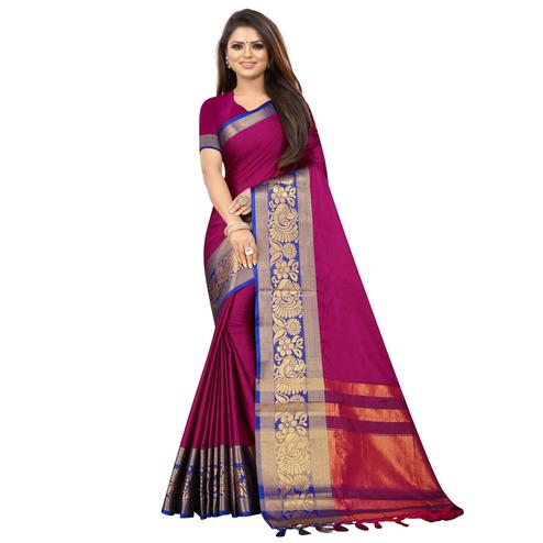 Opulent Magenta Pink Colored Festive Wear Woven Banarasi Jacquard Saree