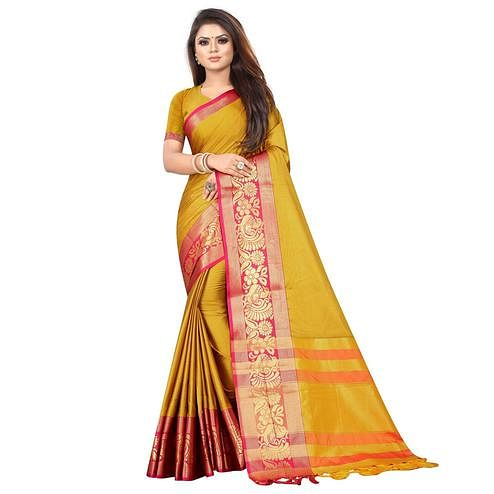 Energetic Mustard Yellow Colored Festive Wear Woven Banarasi Jacquard Saree