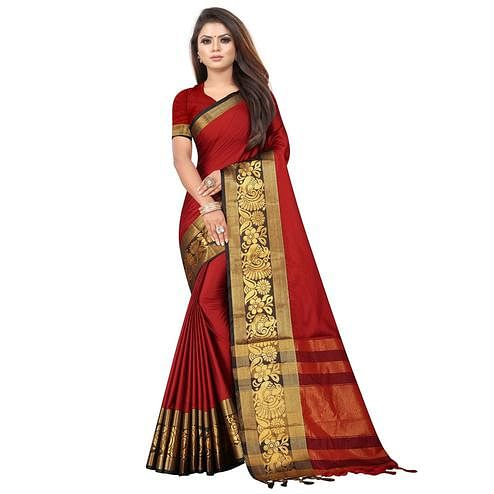 Glowing Red Colored Festive Wear Woven Banarasi Jacquard Saree