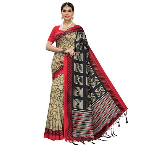 Refreshing Beige-Black Colored Casual Printed Art Silk Saree