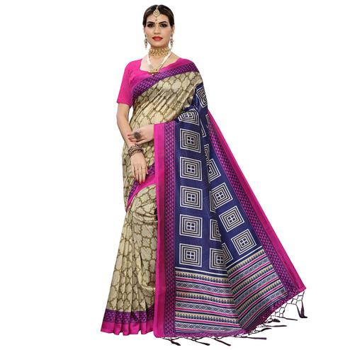 Magnetic Beige-Navy Blue Colored Casual Printed Art Silk Saree
