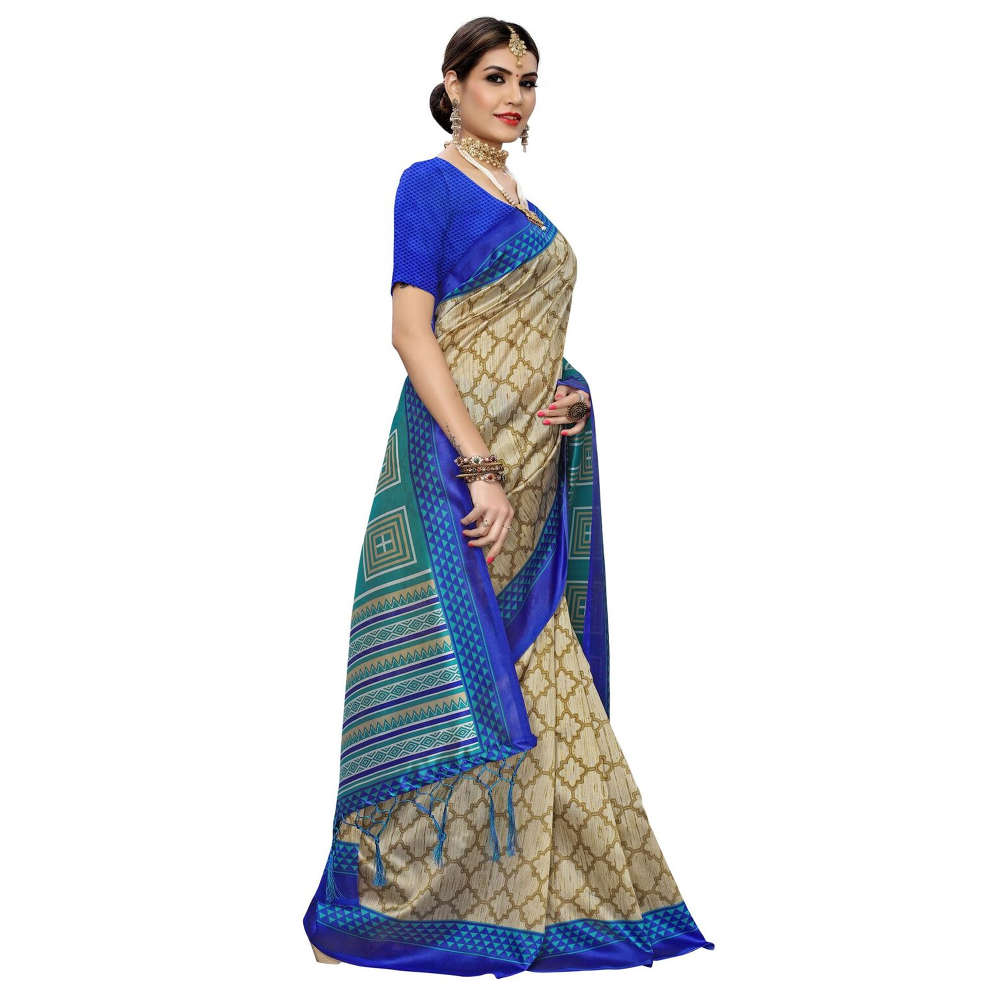 Hypnotic Beige-Rama Green Colored Casual Printed Art Silk Saree