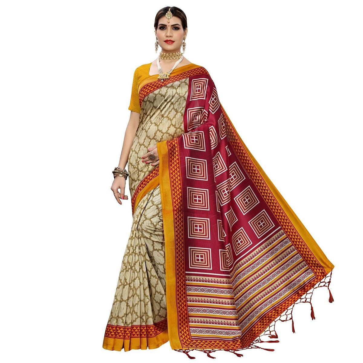 Flattering Beige-Red Colored Casual Printed Art Silk Saree