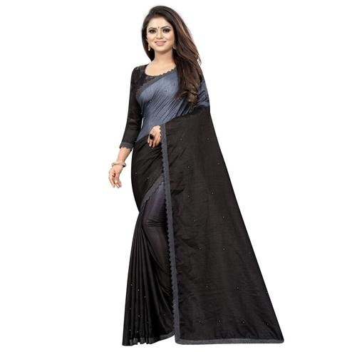 Excellent Black-Grey Colored Partywear Art Silk Saree