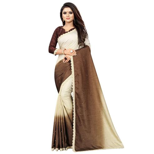Preferable Brown-Cream Colored Partywear Art Silk Saree