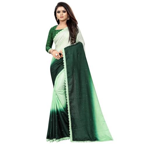 Marvellous Green Colored Partywear Art Silk Saree