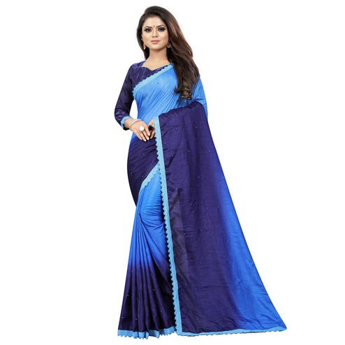 Flamboyant Blue Colored Partywear Art Silk Saree