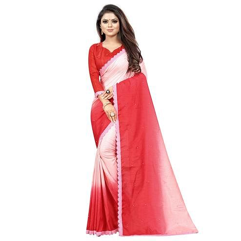 Pretty Red-Pink Colored Partywear Art Silk Saree