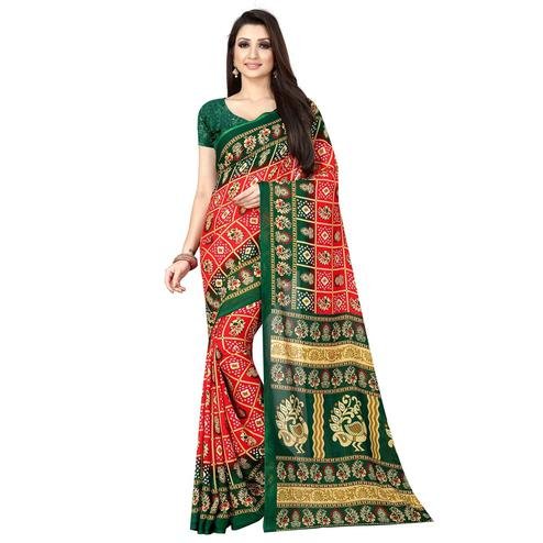 Flaunt Red Colored Casual Printed Georgette Saree