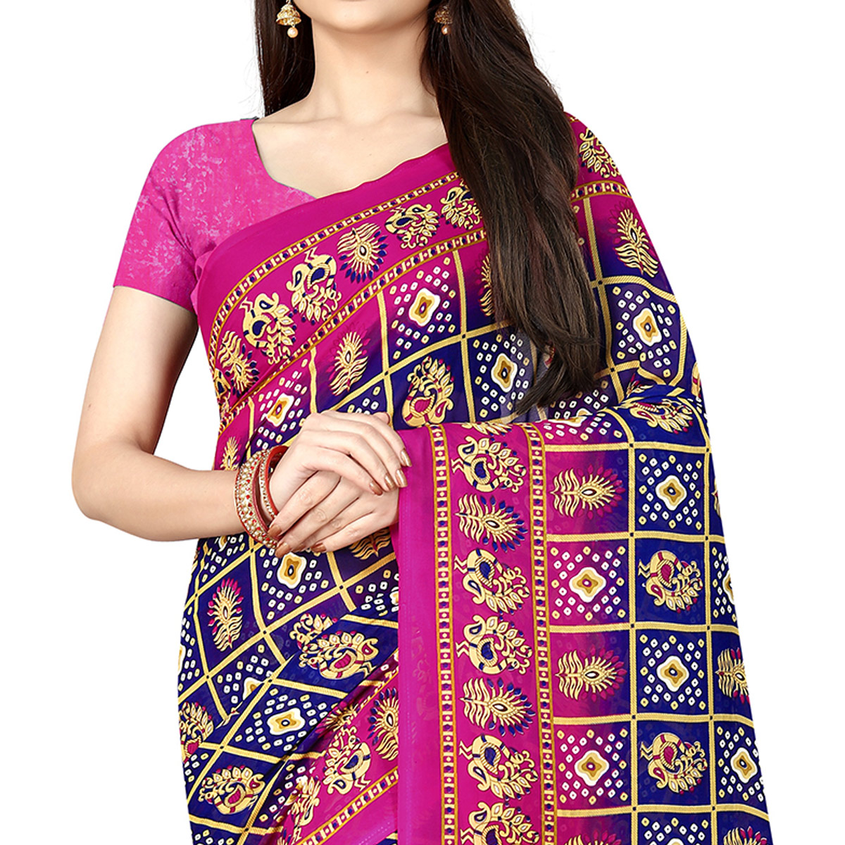 Stunning Navy Blue Colored Casual Printed Georgette Saree