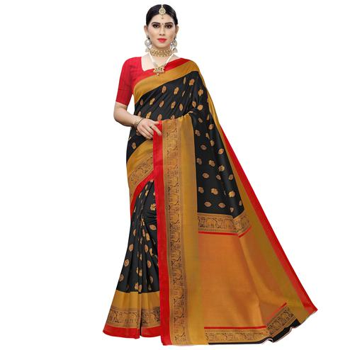 Classy Black Colored Festive Wear Woven Art Silk Saree
