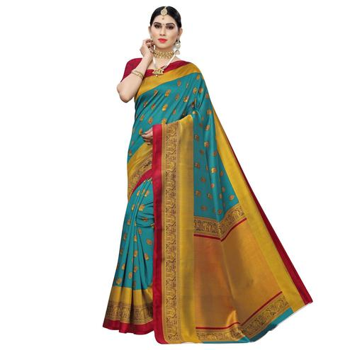 Prominent Rama Blue Colored Festive Wear Woven Art Silk Saree