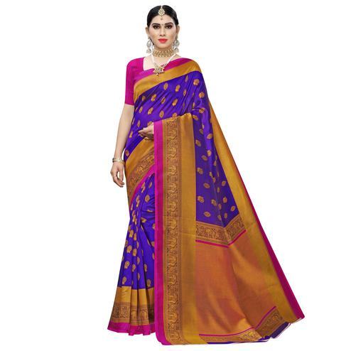 Capricious Violet Colored Festive Wear Woven Art Silk Saree
