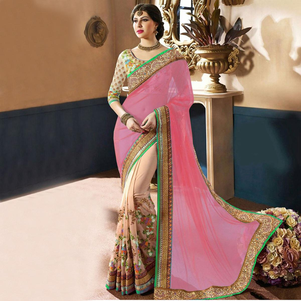 Pink - Cream Net & Georgette Saree
