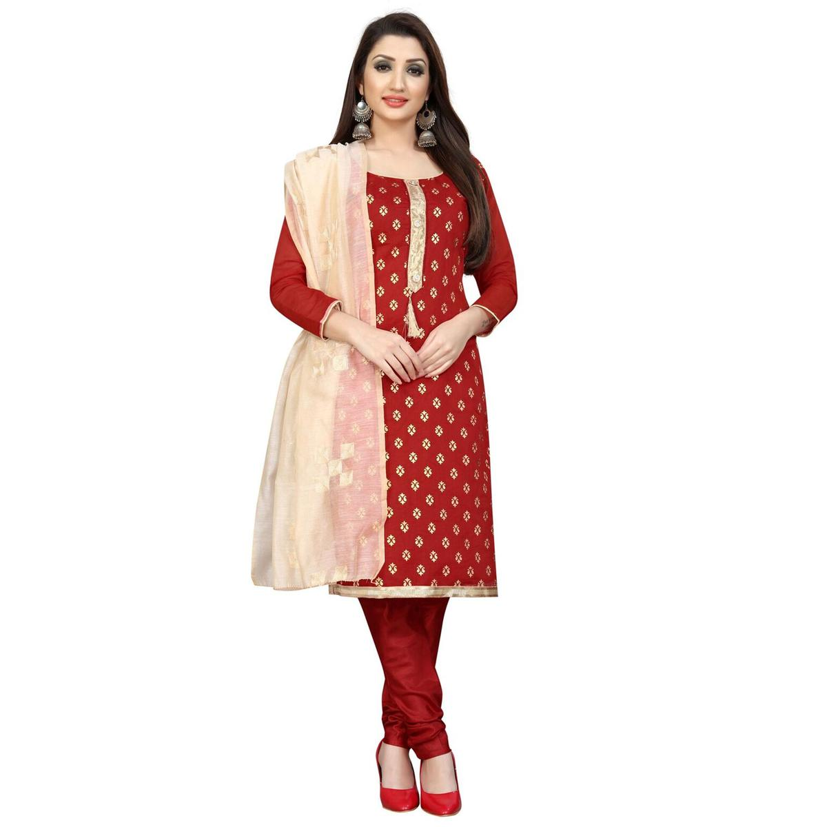 Energetic Red Colored Partywear Printed Cotton Blend Dress Material