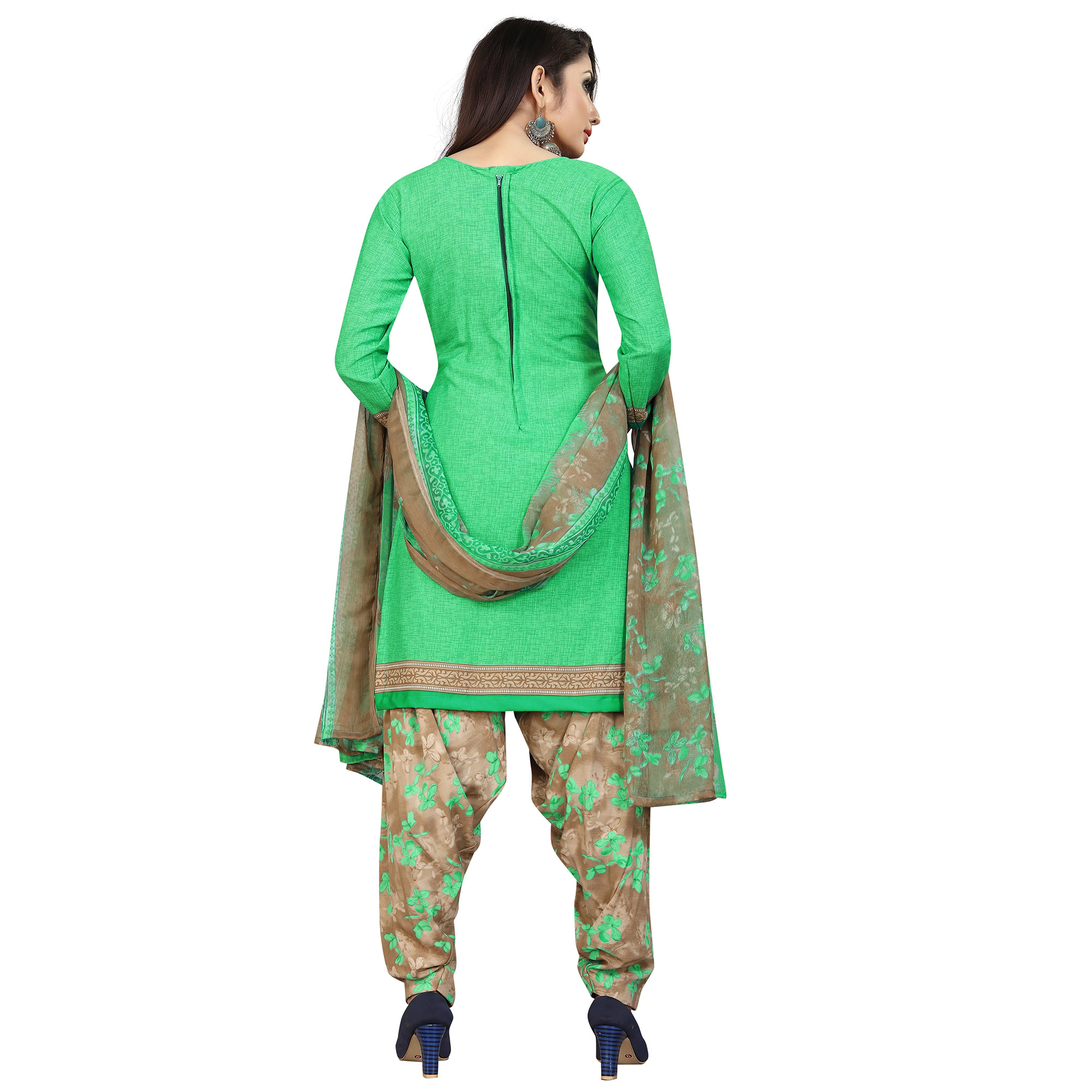 Glowing Green Colored Casual Printed Cotton Blend Dress Material