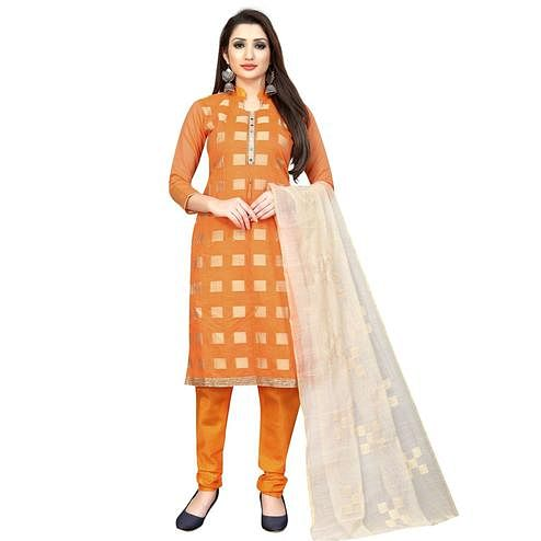 Gleaming Orange Colored Partywear Printed Cotton Blend Dress Material