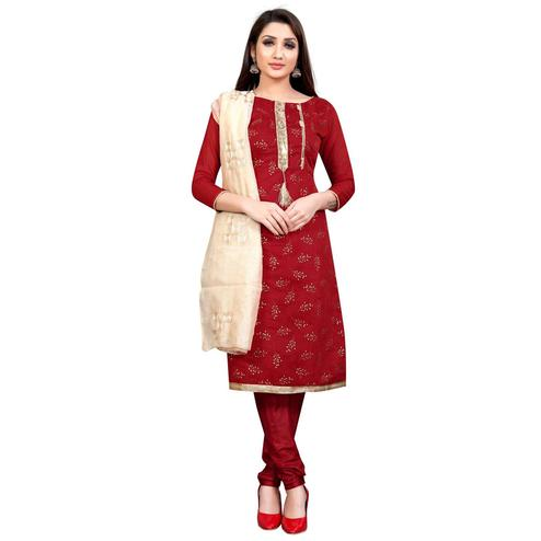 Refreshing Red Colored Partywear Embroidered Cotton Blend Dress Material