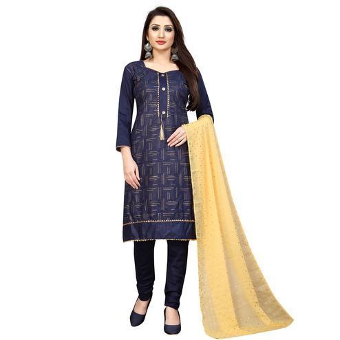 Hypnotic Navy Blue Colored Partywear Cotton Blend Dress Material