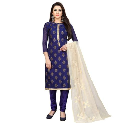 Preferable Navy Blue Partywear Printed Cotton Blend Dress Material