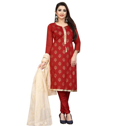 Flamboyant Red Partywear Printed Cotton Blend Dress Material