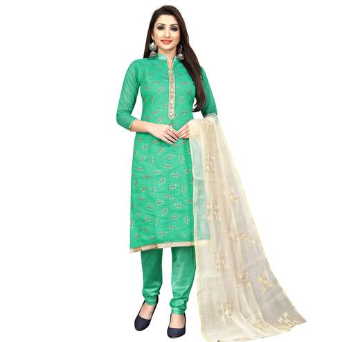 Pretty Turquoise Green Colored Partywear Embroidered Cotton Blend Dress Material