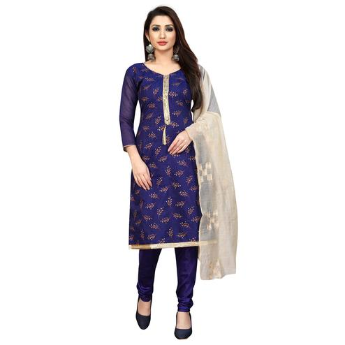 Alluring Navy Blue Colored Partywear Embroidered Cotton Blend Dress Material