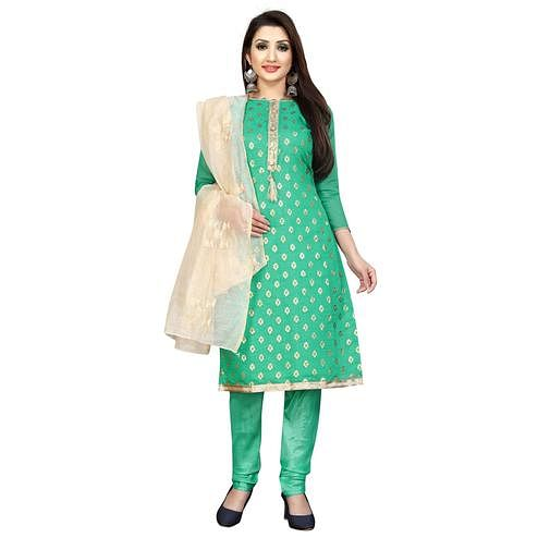 Sensational Turquoise Green Colored Partywear Cotton Blend Dress Material
