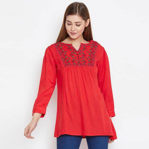 Pleasant Red Colored Casual Wear Floral Embroidered Rayon Top