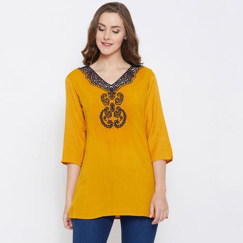 Unique Mustard Yellow Colored Casual Wear Embroidered Rayon Top
