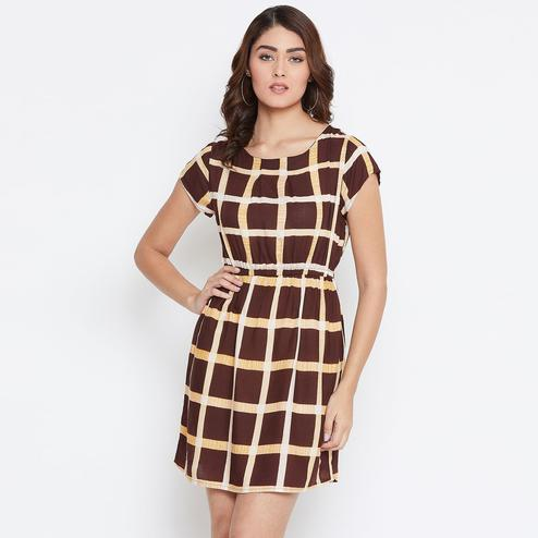 Alluring Brown Colored Partywear Checked Printed Rayon Dress