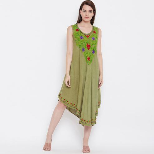 Flirty Olive Green Colored Partywear Floral Embroidered Rayon Dress