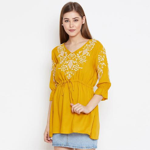 Mesmerising Mustard Yellow Colored Casual Wear Floral Embroidered Viscose Rayon Tunic