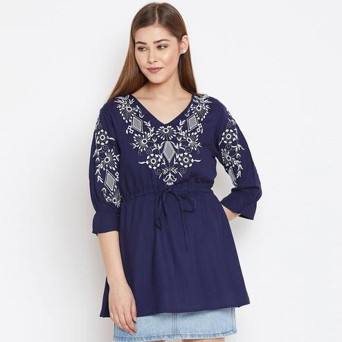 Breathtaking Navy Blue Colored Casual Wear Floral Embroidered Viscose Rayon Tunic