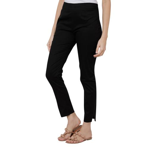 Magnetic Black Colored Casual Wear Cotton Lycra Stretchable Trousers