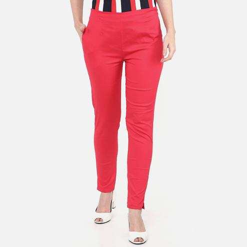Hypnotic Red Colored Casual Wear Cotton Lycra Stretchable Trousers